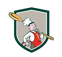 Chef Cook Marching Spoon Shield Cartoon by patrimonio