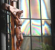 jesus and mary in glass building by Claude Desrochers