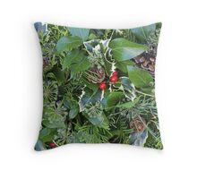Evergreen Wreath Background Throw Pillow