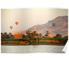 Hot Air Balloons over the Nile River, Egypt Poster