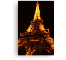 Glowing Gold Eiffel Canvas Print
