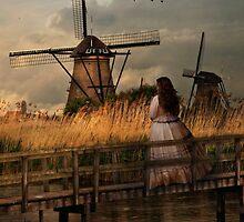 Autumn impression with two dutch windmills by JBlaminsky