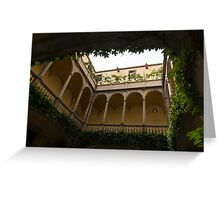 Courtyard - Green Mediterranean Serenity and Peace Greeting Card