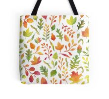 Watercolor autumn leaves pattern Tote Bag