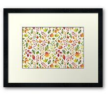 Watercolor autumn leaves pattern Framed Print