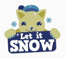 Let it snow with cute cat and snowflakes Kids Clothes