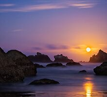 Bandon Beach Moonset (2143) by Barry L White