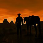 Arizona Cowboy Sunset by Walter Colvin