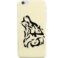 Tribal wolf head on light brown background iPhone Case/Skin