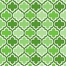 Four Shades Quatrefoil Pattern Green by Ra12