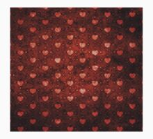 Grunge red pattern with hearts 2 Kids Clothes