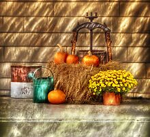A still life with pumpkins by Mike  Savad
