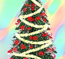 Christmas Tree Cards on pastel background by Penny Marcus