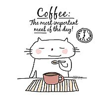 Coffee : The most important meal of the day! / Cat doodle Photographic Print