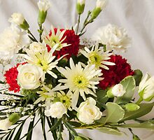 white roses and carnations by cynthiab