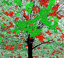Celebration Tree Red and Green by Saundra Myles