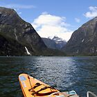 Kayaking in Milford Sound, Piopiotahi, New Zealand by Hannah Nicholas