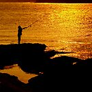 Fisherman in Fire, Putty Beach, NSW by David Mapletoft