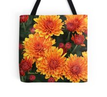 Fall Faces ~ Rust Color Button Mums Tote Bag