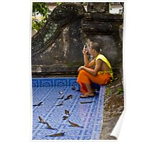 Young Buddhist Monk and his mobile phone  Poster