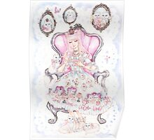 Cat's Tea Party Watercolor Painting Poster