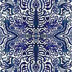 Deep Navy Blue Watercolor Damask by Tangerine-Tane