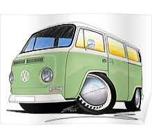 VW Bay Window Camper Van Light Green Poster