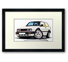 VW Golf GTi (Mk2) White Framed Print