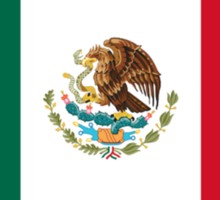 Mexican Flag, The flag of Mexico, Bandera de México, pure & simple Sticker