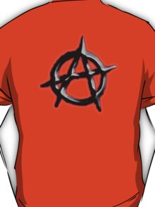 ANARCHY, Revolution, Protest, Disorder, Unrest, Symbol on red in black T-Shirt