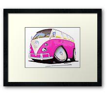 VW Splitty Camper Van Pink Framed Print