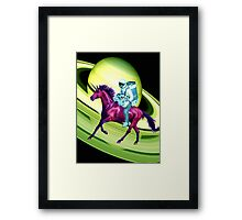 Astronaut Rides a Space Horse on the Rings of Saturn Framed Print
