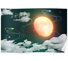 Bright Moon and Shooting Stars Poster