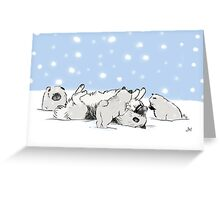 Keeshond Dogs Playing in the Snow Greeting Card