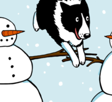 Winter Fun Border Collie Sticker