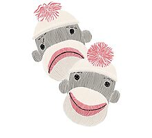 Tragedy and Comedy Sock Monkeys Photographic Print