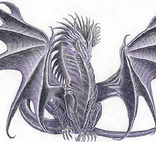Charcoal and colored pencil dragon by MissTazzitude