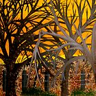 Silouettes on Amber Sunset (painting) by cruserart