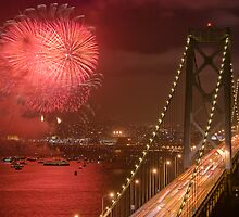 Bay Bridge Fireworks by Can Balcioglu