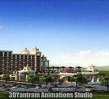 Hotel Bird View Exterior Design by 3dwalkthrough