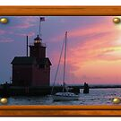 Holland Harbor Lighthouse With Frame by Brion Marcum