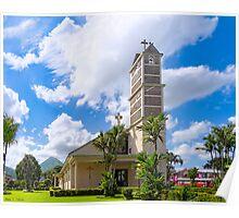 Iglesia de la Fortuna y Arenal - Church and Volcano in Costa Rica Poster