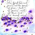 Scripture 2 Timothy 1:7 calligraphy art by Melissa Goza
