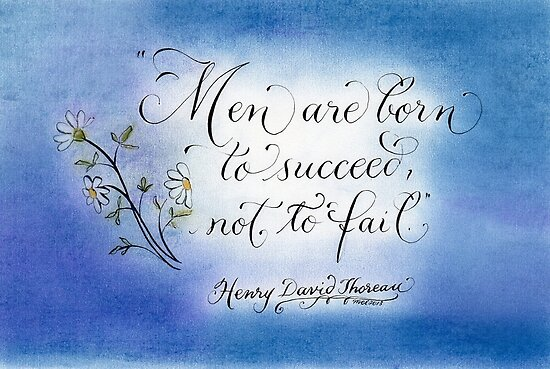 Inspirational handwritten Thoreau quote to Succeed by Melissa Goza