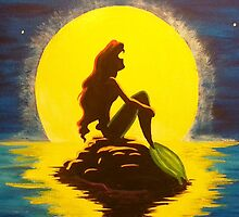 Ariel & the Moon - the Little Mermaid by peetamark