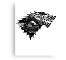 House Stark Black Worn Canvas Print