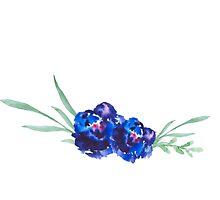 Blue watercolor flowers by Ilze Lucero