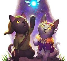 link and zelda as cats by triforceyeah89