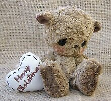 Carter, Christmas Bear Greetings. Handmade bears from Teddy Bear Orphans by Penny Bonser