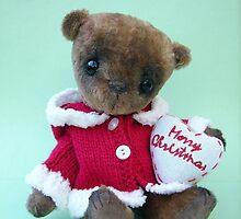 Tarquin, Christmas Bear. Handmade bears from Teddy Bear Orphans by Penny Bonser